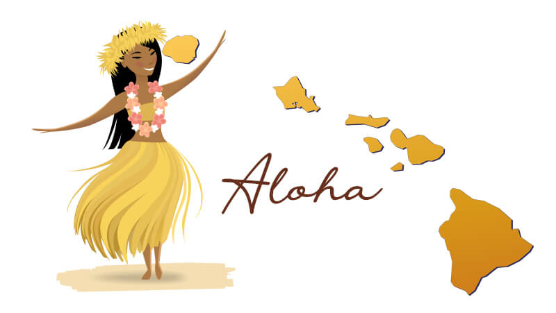 graphic of a hula dancer with map of hawaii and caption aloha