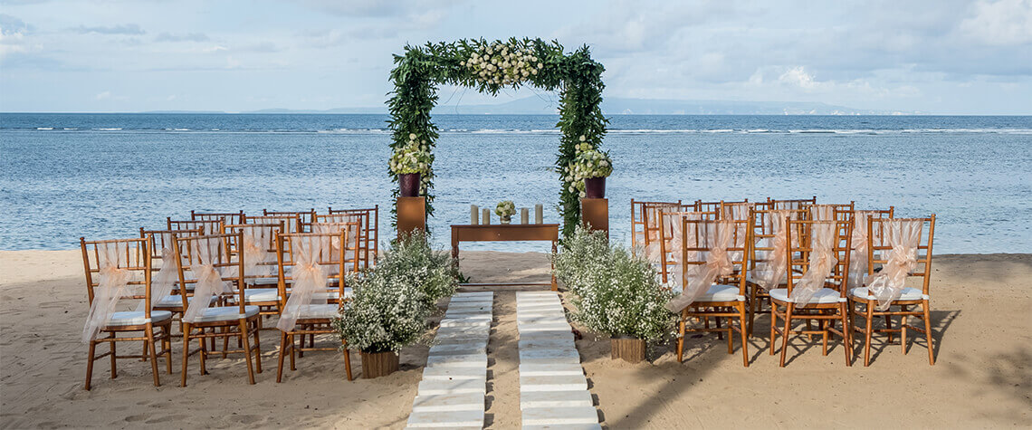 wedding set-up on beach in hawaii