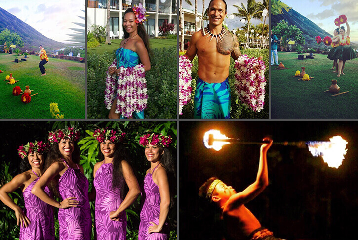 collage of hula entertainment photos