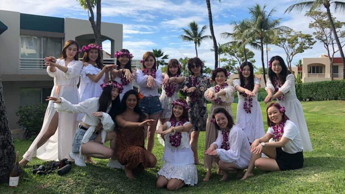 bachelorette party after hula lessons