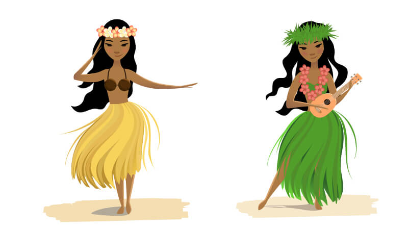 fun graphics of hula dancers