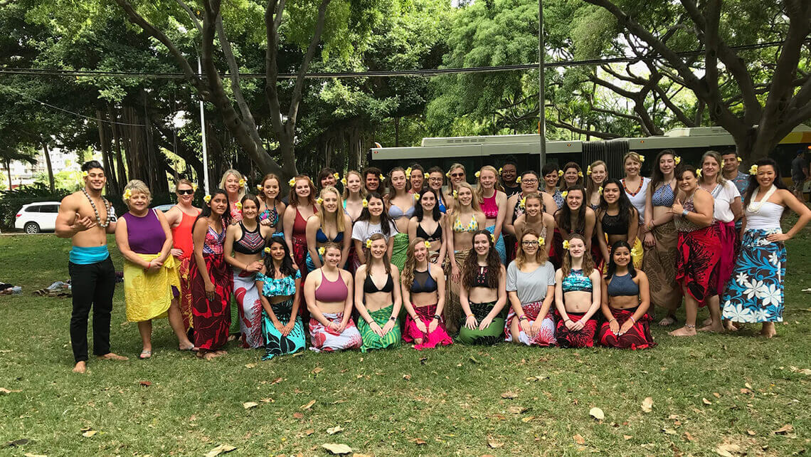 friends group photo after hula lesson