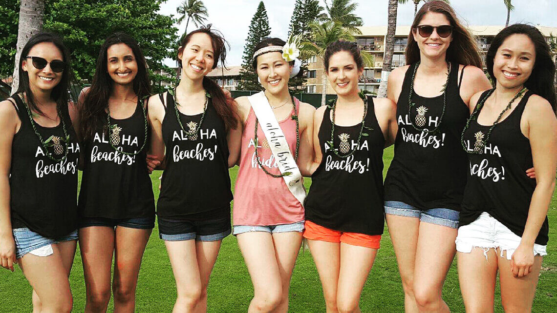 bachelorette party with matching aloha tshirts after hula lessons