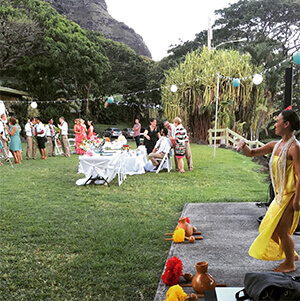family gathering celebration in hawaii