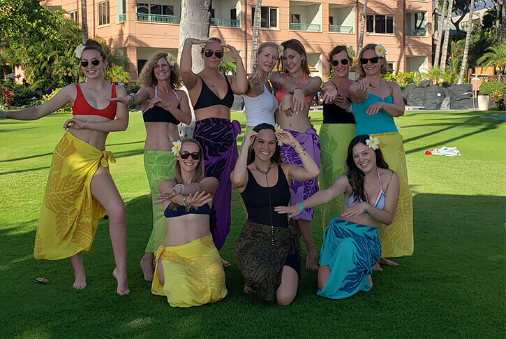 group of girl friends in hawaii after hula lesson