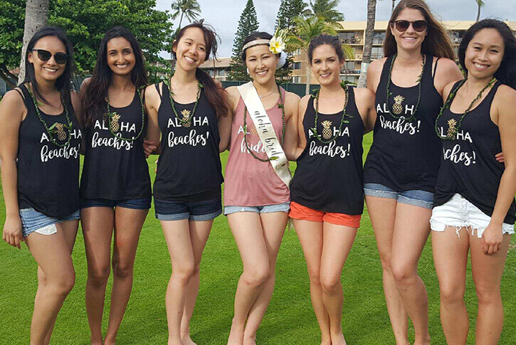 bachelorette party in hawaii after hula lesson