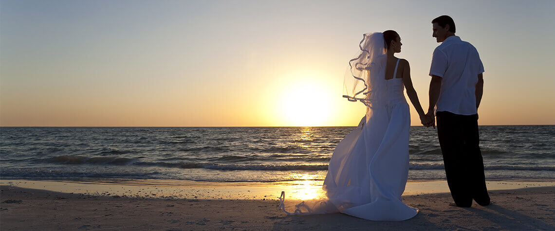 wedding wedding beach with sunset