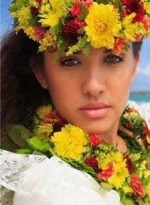 hawaiian woman wearing lei on head